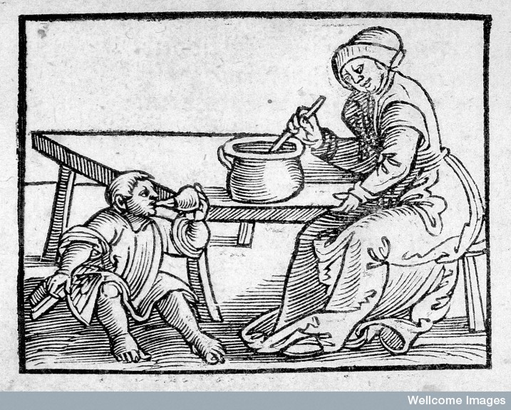 Child with feeding bottle Credit: Wellcome Library, London.
