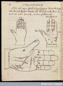 Illustration of 3 hands in Chyromancy Credit: Wellcome Library, London. Wellcome Images