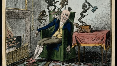 A man suffering from headache in the form of devils. Coloure Credit: Wellcome Library, London.