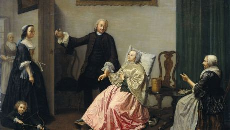 Doctor visiting a patient c.1750 courtesy of Rijksmuseum