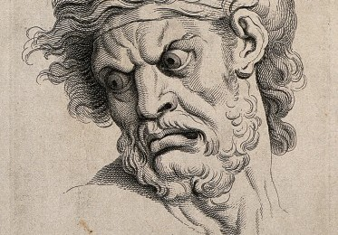 The face of a man in a state of anger. Engraving by J. Tinne Credit: Wellcome Library, London.