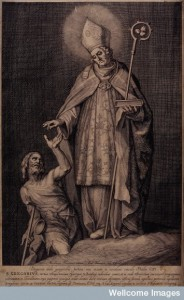 V0032163 Saint Gregory the Great. Line engraving by F. Bloemaert afte
