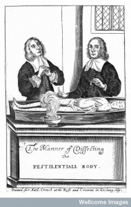 L0001899 Two men dissecting a body with plague.