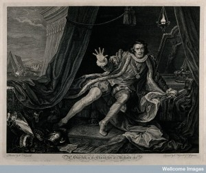 V0049252 David Garrick (1717-1779) in the rôle of Richard III, awaken