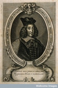 V0005033 Lazare Rivière [Riverius]. Line engraving by C. Brunand.