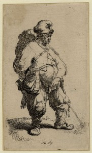 Rembrandt, A man making water. Reproduced courtesy of the British Museum