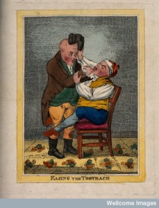 A tooth-drawer extracting a tooth from a patient who is in pain Credit: Wellcome Library, London.