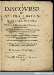 Titlepage: A discourse of naturall bathes Credit: Wellcome Library, London.