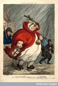 An obese midwife on her way to a labour in the early hours o Credit: Wellcome Library, London.