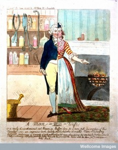 Carciature of a man-midwife as a split figure half male half female Credit: Wellcome Library, London.