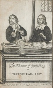 Two men dissecting a body with plague. Credit: Wellcome Library, London.