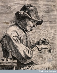 V0016788 A man removing a plaster from his hand. Etching attributed t Credit: Wellcome Library, London. Wellcome Images images@wellcome.ac.uk http://wellcomeimages.org A man removing a plaster from his hand. Etching attributed to D. Teniers, the younger. By: David Teniersafter: Coryn BolPublished: - Copyrighted work available under Creative Commons Attribution only licence CC BY 4.0 http://creativecommons.org/licenses/by/4.0/