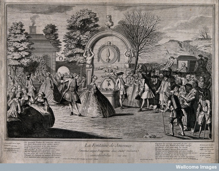 Crowds of old and infirm people arrive at the fountain of youth to drink the special water; to the left are a group of youthful people dancing and singing, rejuvenated by the spring. Engraving by Boilard. Image courtesy of the Wellcome Library, London.