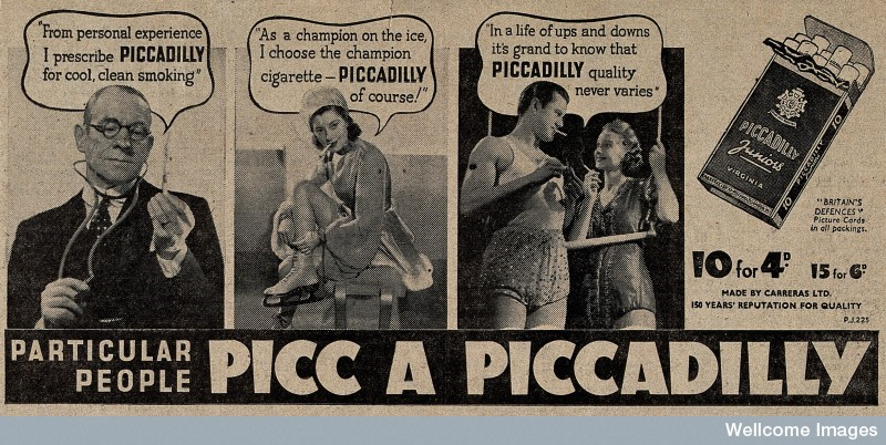 Newspaper advert for Piccadilly cigarettes showing a doctor, a figure skater and two trapeze artists advocating the consumption of the brand (1939). Image courtesy of the Wellcome Library, London.