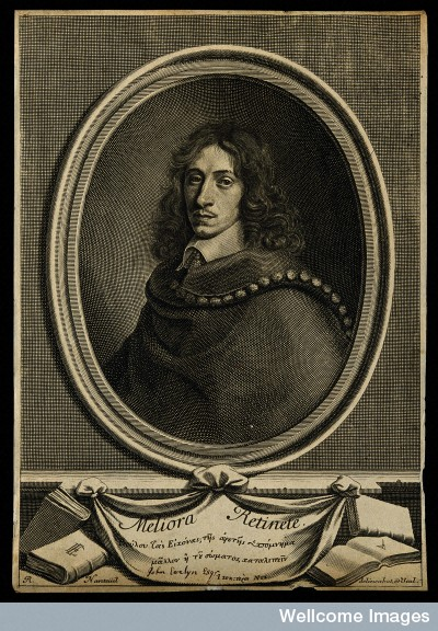ohn Evelyn. Line engraving by R. Nanteuil, 1706, Credit: Wellcome Library, London. Wellcome Images images@wellcome.ac.uk http://wellcomeimages.org John Evelyn. Line engraving by R. Nanteuil, 1706, after himself. Published: - Copyrighted work available under Creative Commons Attribution only licence CC BY 4.0 http://creativecommons.org/licenses/by/4.0/