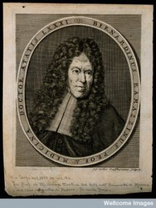 Bernardino Ramazzini. Line engraving by J. G. Seiller, 1716.